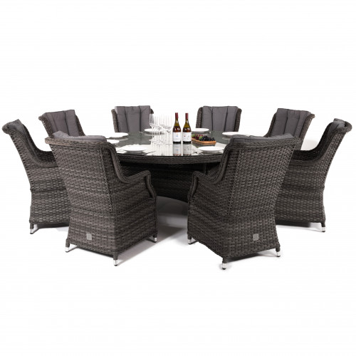 Victoria 8 Seat Round Dining Set with Square Chairs