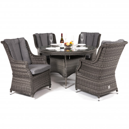 Victoria 4 Seat Round Dining Set with Square Chairs
