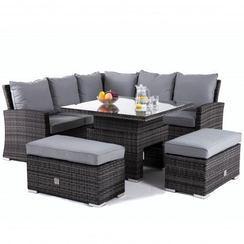 Richmond Corner Bench Set with Rising Table / Grey