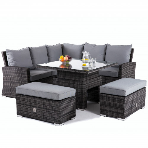Richmond Corner Bench Set with Rising Table / Grey