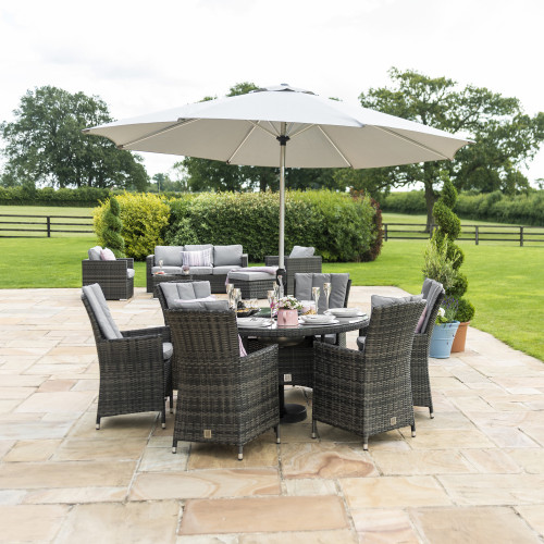 LA 6 Seat Round Ice Bucket Dining Set with LS and Parasol/ Grey