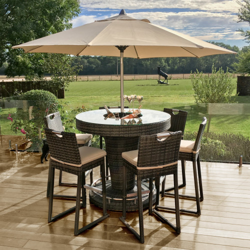 6 Seat Bar Set with Ice Bucket and Parasol / Brown