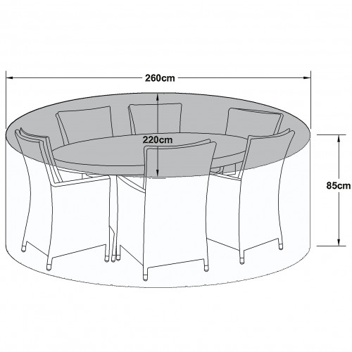 Outdoor Cover for 6 Seat Oval Dining Set