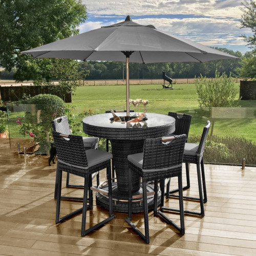 6 Seat Bar Set with Ice Bucket and Parasol/ Grey