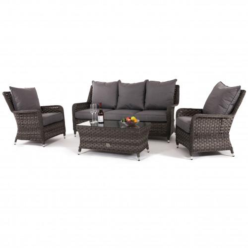 Victoria 3 Seat High Back Sofa Set / Grey