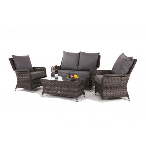 Victoria 2 Seat High Back Sofa Set / Grey
