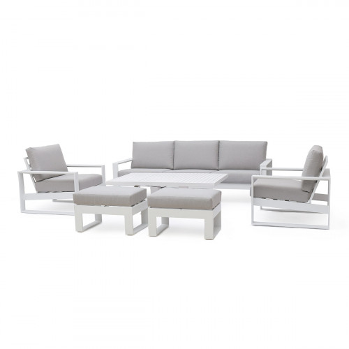 Amalfi 3 Seat Sofa Set With Rising Table / White