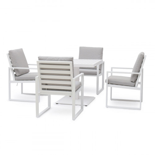 Amalfi 4 Seat Square Dining Set with Rising Table / White