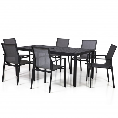 Amalfi 6 Seat Rectangular Dining Set with Texteline Chair / Black