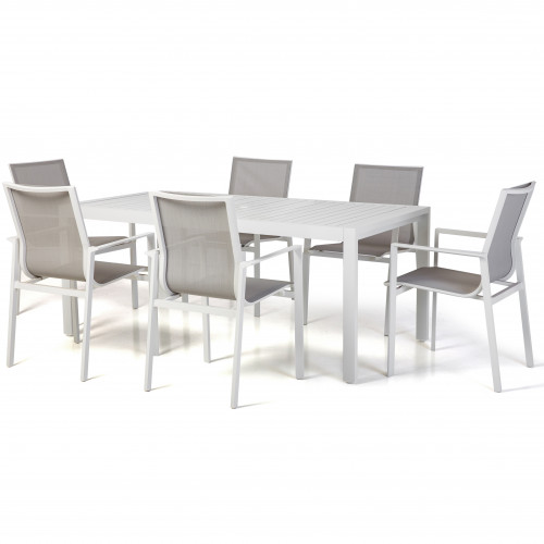 Amalfi 6 Seat Rectangular Dining Set with Texteline Chairs / White