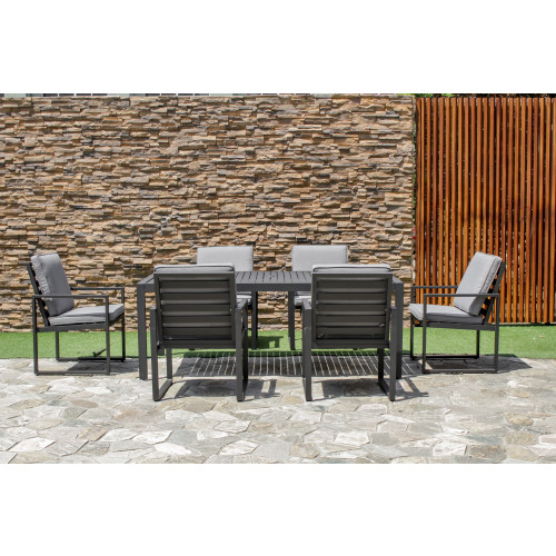 Amalfi 6 Seat Rectangular Dining Set with Slatted Chair / Black