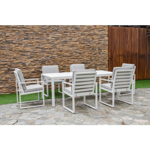 Amalfi 6 Seat Rectangular Dining Set with Slatted Chair / White