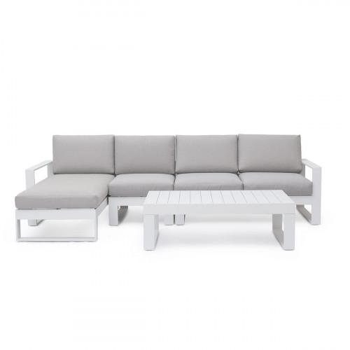 Amalfi Chaise Sofa Set / White