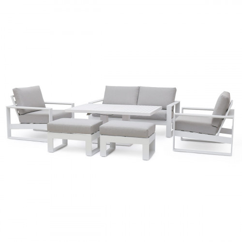 Amalfi 2 Seat Sofa Set With Rising Table / White
