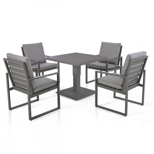Amalfi 4 Seat Square Dining Set with Rising Table / Grey