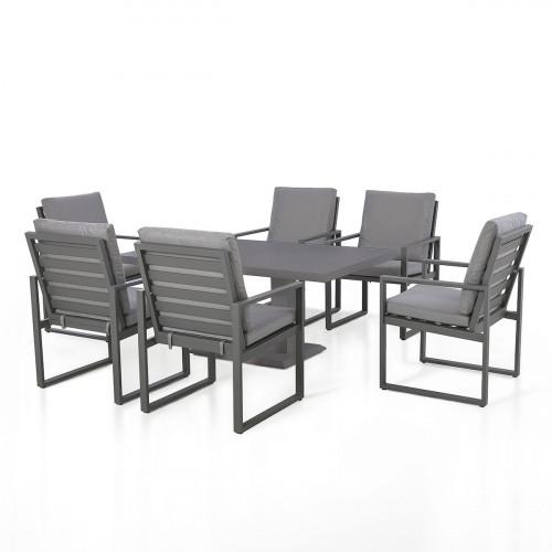 Amalfi 6 Seat Rectangular Dining Set with Rising Table / Grey