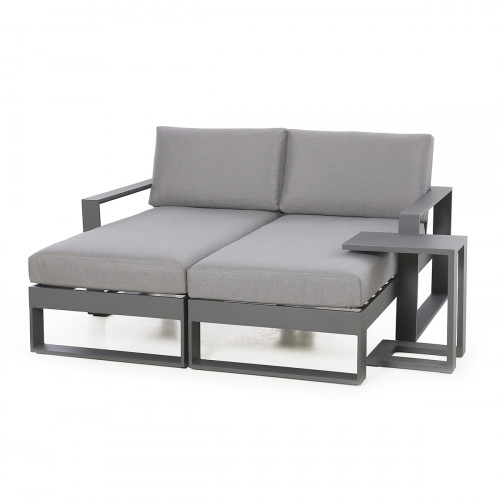 Amalfi Double Sunlounger with Side Table / Grey