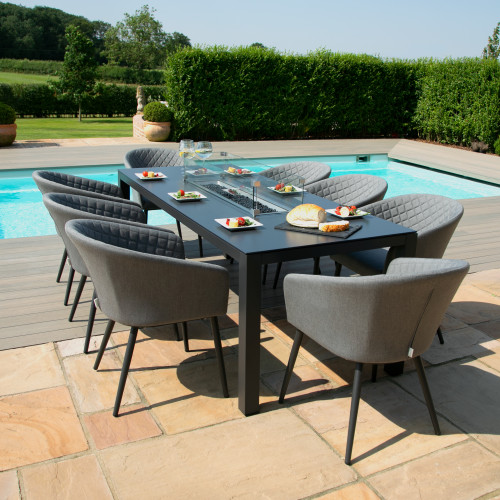 Ambition 8 Seat Rectangular Fire Pit Dining Set / Flanelle