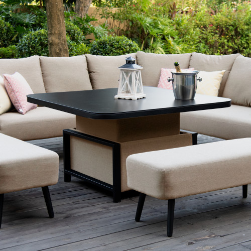 Ambition Square Corner Dining Set with Rising Table / Taupe