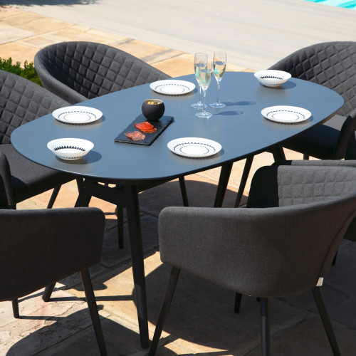 Ambition 6 Seat Oval Dining Set / Charcoal