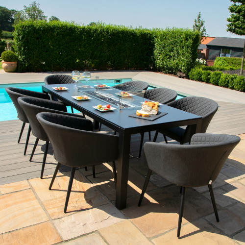 Ambition 8 Seat Rectangular Fire Pit Dining Set / Charcoal