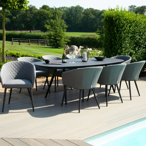 Ambition 8 Seat Oval Dining Set / Flanelle