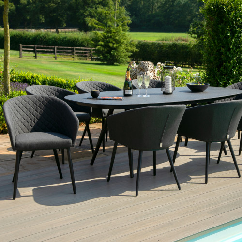 Ambition 8 Seat Oval Dining Set / Charcoal