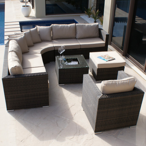 Barcelona Corner Group with Ice Bucket and Chair / Brown