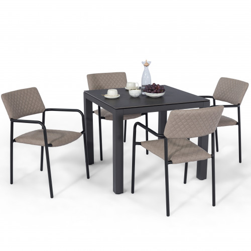 Bliss 4 Seat Square Dining Set / Taupe