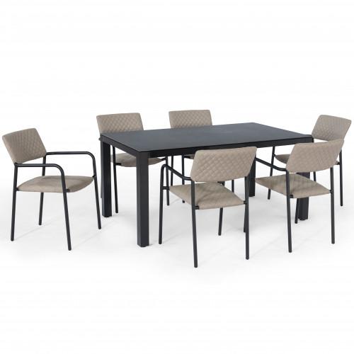 Bliss 6 Seat Rectangular Dining Set / Taupe