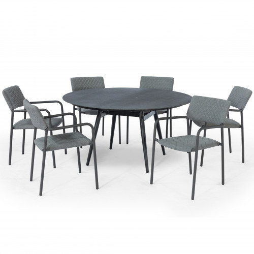 Bliss 6 Seat Round Dining Set / Flanelle