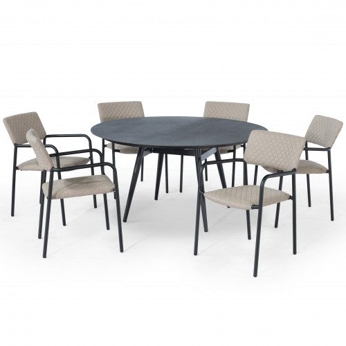 Bliss 6 Seat Round Dining Set / Taupe