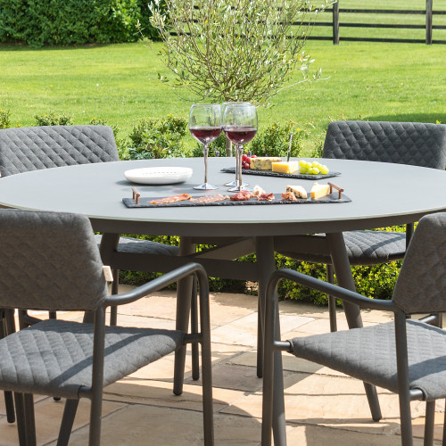 Bliss 6 Seat Round Dining Set / Charcoal