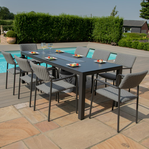 Bliss 8 Seat Rectangular Dining Set - Fire Pit Table / Flanelle