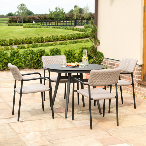 Bliss 4 Seat Round Dining Set / Taupe