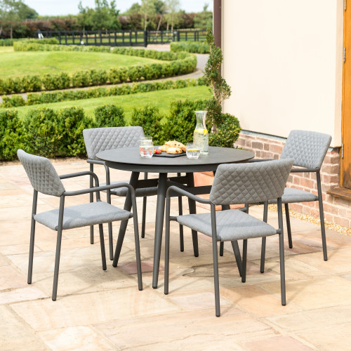 Bliss 4 Seat Round Dining Set / Flanelle