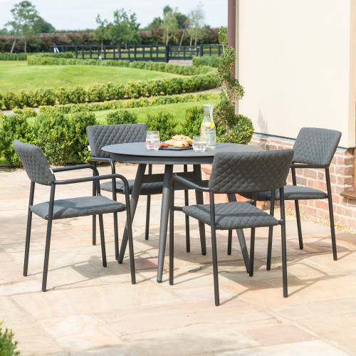 Bliss 4 Seat Round Dining Set / Charcoal