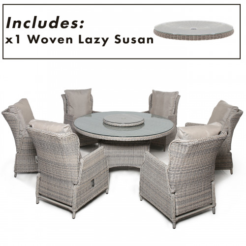 Cotswold Reclining 6 Seat Round Dining Set