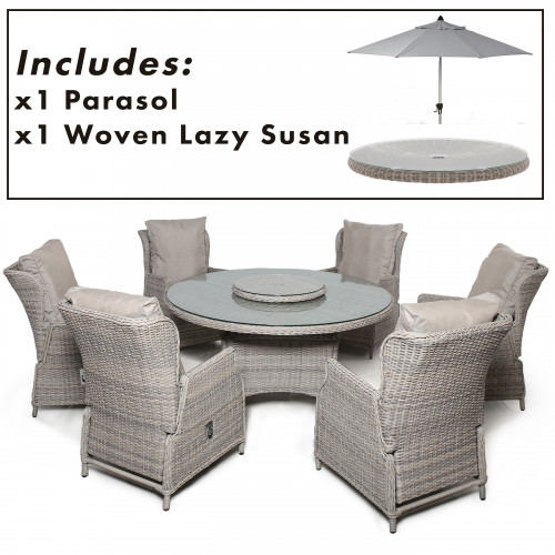 Cotswold Reclining 6 Seat Round Dining Set with Parasol