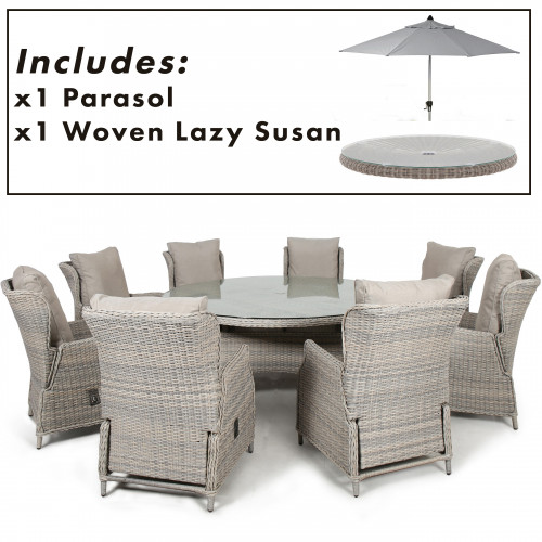 Cotswold Reclining 8 Seat Round Dining Set with Parasol