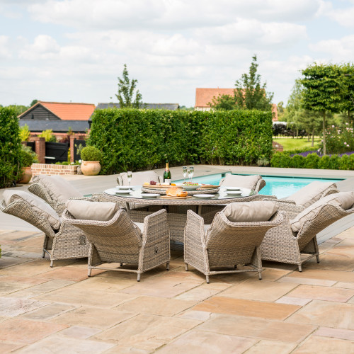 Cotswold Reclining 8 Seat Round Dining Set
