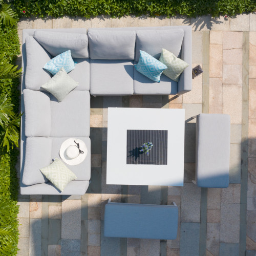 Pulse Square Corner Dining Set - With Fire Pit Table / Lead Chine