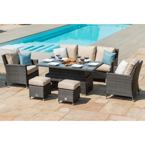 Venice Sofa Dining Set with Ice Bucket and Rising Table / Brown