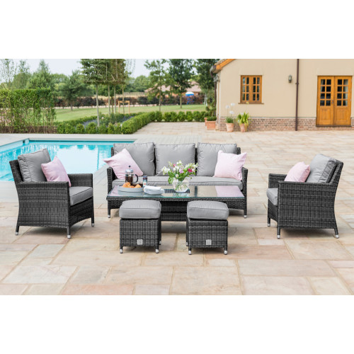 Venice Sofa Dining Set with Ice Bucket and Rising Table / Grey