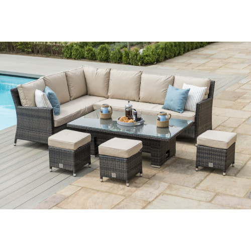 Venice Corner Dining Set with Ice Bucket & Rising Table / Brown