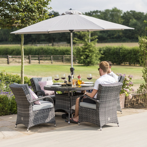 Texas 4 Seat Round Dining Set with Parasol / Grey