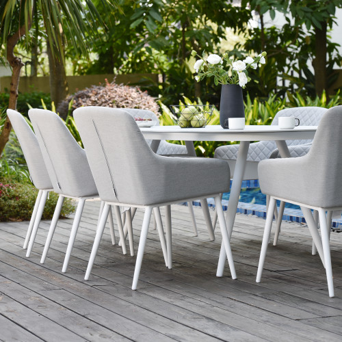 Zest 8 Seat Oval Dining Set / Lead Chine