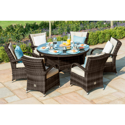 Texas 6 Seat Round Ice Bucket Dining Set with Ls / Brown