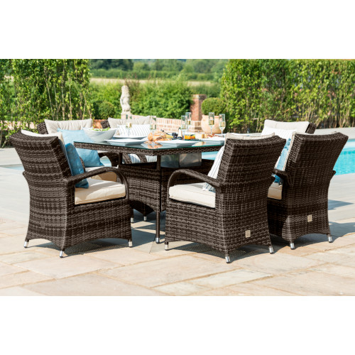 Texas 6 Seat Rectangle Ice Bucket Dining Set / Brown