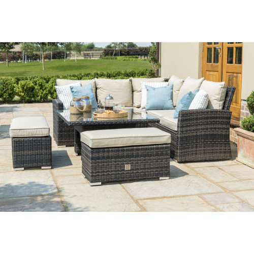 Richmond Corner Bench Set with Rising Table / Brown